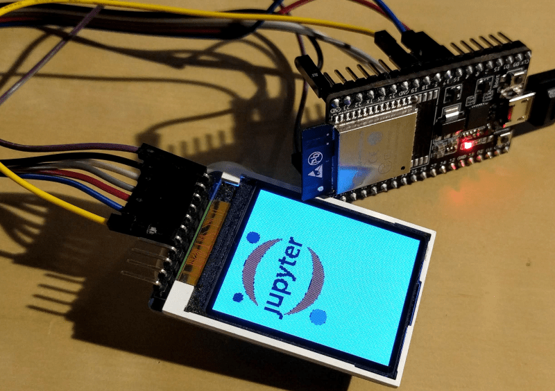 An ESP32 controlling a ST7735 display