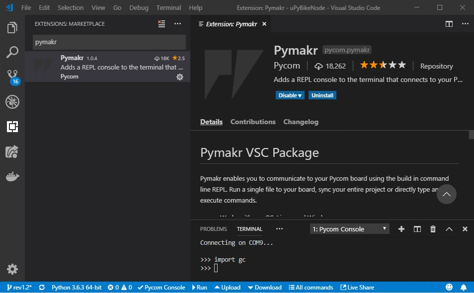 Visual Studio Code - Pymakr extension